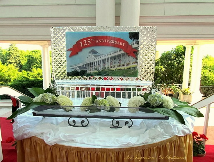 Grand Hotel on Mackinac Island 125th Anniversary Ice Sculpture, Ice Sign, Ice Sculptures, Ice Sculpture, Ice Carving, Ice Carvings, Michigan Ice Sculptures, Mackinac Island Ice Sculptures, Ice Impressions Ice Sculptures, Ice Impressions, Northern Michigan Ice Sculptures.