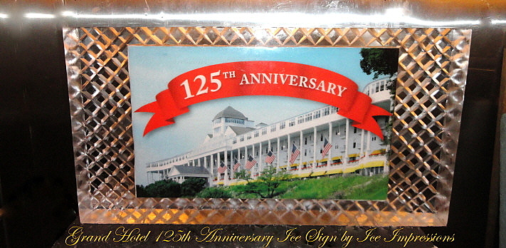 Anniversary Ice Sculptures, Anniversary Ice Carvings, Grand Hotel on Mackinac Island 125th Anniversary Ice Sculpture, Ice Sign, Ice Sculptures, Ice Sculpture, Ice Carving, Ice Carvings, Michigan Ice Sculptures, Mackinac Island Ice Sculptures, Ice Impressions Ice Sculptures, Ice Impressions, Northern Michigan Ice Sculptures.