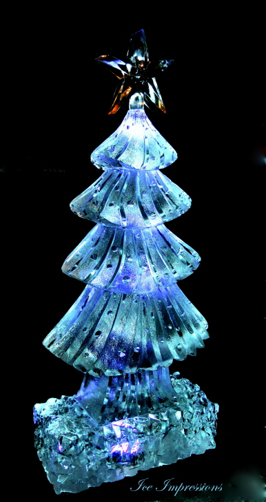 Christmas Tree, Christmas Tree Ice Sculpture, Christmas Tree Ice Carving, Ice Impressions