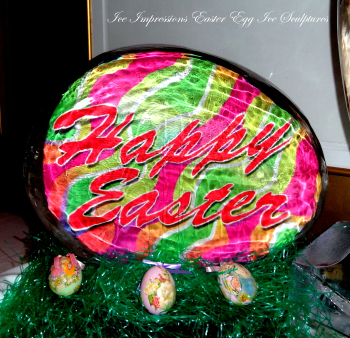 Easter Egg, Happy Easter, Happy Easter Egg Ice Sculpture, Ice Impressions, Traverse City, Traverse City Ice Sculptures,