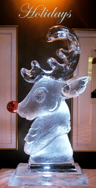 Rudolph The Red Nosed Reindeer, Rudolph The Red Nosed Deer Ice Sculpture, Holiday Ice Sculptures, Ice Impressions, Northern Michigan Ice Sculptures.