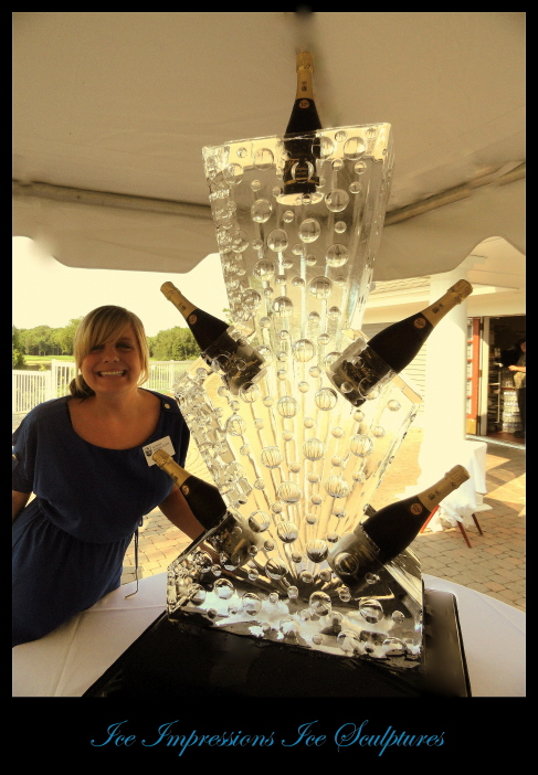 Champange Chiller Ice Sculpture, Champagne Bottle Chiller, Champagne Bottle Chiller Ice Sculpture, Michigan Ice Sculpture, Ice Sculpture Michigan, Northern Michigan Ice Sculpture, Ice Carving, Ice Carvings, Special Event Ice Sculptures, Golf Tournament Ice Sculptures.
