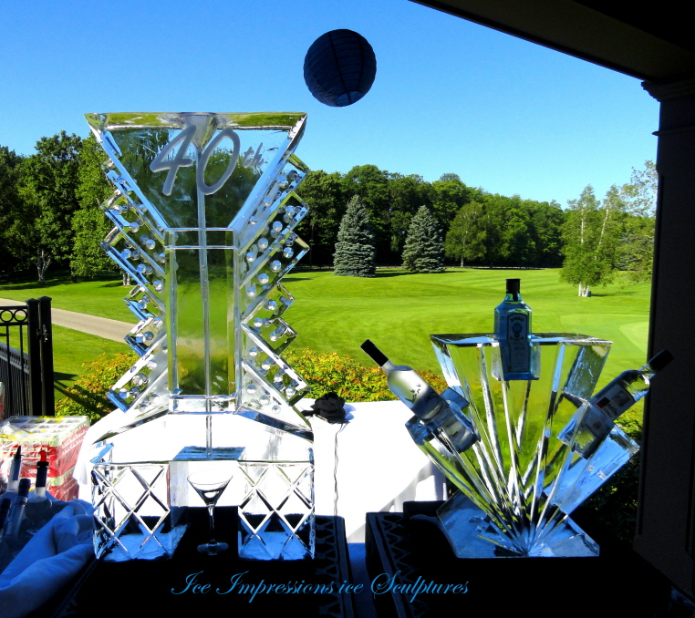 Ice Luge, Bottle Chiller made out of ice, michigan ice sculpture, ice impressions, northern michigan ice carving, special event ice sculpture, birthday ice sculpture, wedding ice sculptures, anniversary ice sculpture, anniversary ice carving, Clear Ice Blocks, Golf Outing Ice Sculptures, Sporting Event Ice Sculptures.