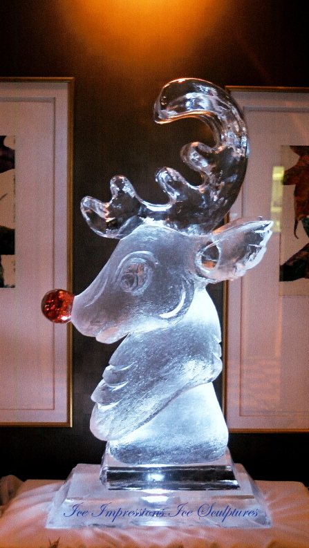 Rudolph The Red Nosed Reindeer Ice Sculpture, Ice Impressions Ice Sculptures, Holiday Ice Sculptures, Christmas Ice Sculptures, Ice Sculptures, Ice Impressions, Ice Carvings, Ice Carving, Ice Sculpture.
