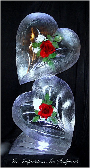 WEDDING-ICE-SCULPTURES, ICE-SCULPTURES-WEDDING, Wedding-Ice-Sculptures, ICE-IMPRESSIONS, By Ice Impressions, ice-impressions.com, Hearts with Red & White Roses Ice Sculptures
