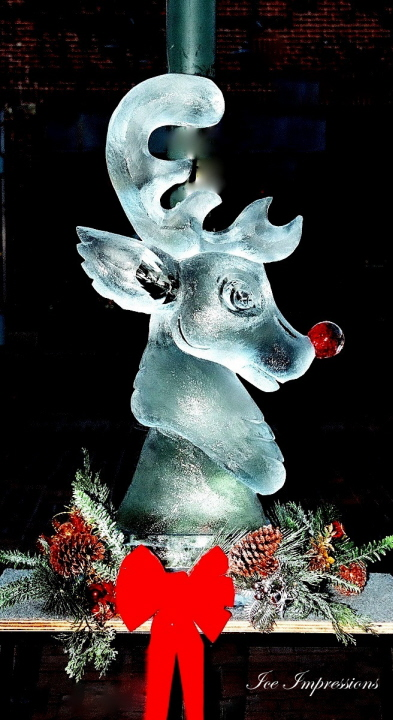 By Ice Impressions, ice-impressions.com, ice sculptures, ice sculpture, ice carving, ice carvings, custom ice sculptures, special event ice sculptures, Rudolph, Rudolph The Red Nosed Reindeer, Rudolph The Red Nosed Reindeer Ice Sculpture, Ice Impressions.
