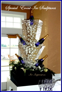 Champagne Chiller Ice Sculpture, Ice Impressions, Ice Sculptures, Ice Carvings, Ice Carving, Ice Sculpture.