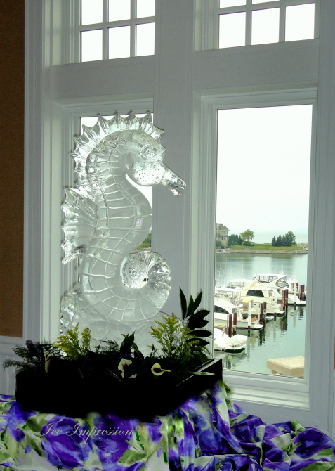 Seahorse Ice Sculpture, Ice Sculptures, Ice Carvings, Ice Carving, Ice Sculpture, Bay Harbor Ice Sculptures.