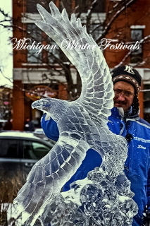 Steven Berkshire, Eagle Ice Sculpture, Traverse City, Traverse City Winter Festival, Traverse City Ice Sculpture, Traverse City Ice Carving, Ice Carvings, Ice Sculptures, Ice Sculpture.