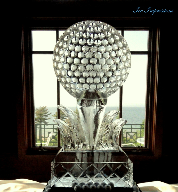 Golfball Ice Sculpture, golf Tournament Ice Sculpture, Bay Harbor Golf Club Ice Sculptures, The Tradition Golf Tournament Goldball Ice Sculpture.