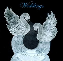 Wedding Ice Sculptures, Wedding Decor Ice Sculptures, Northern Michigan Weddings, Michigan Wedding Ice Sculptures, Ice Sculptures, Ice Carvings, Ice Carving, Ice Sculpture, Ice Impressions, Traverse City Ice Sculptures, Swan Ice Sculpture.
