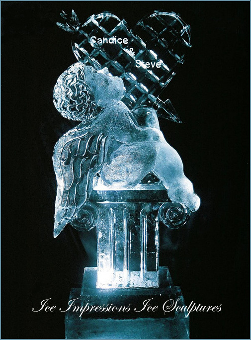 WEDDING-ICE-SCULPTURES, ICE-SCULPTURES-WEDDING, Wedding-Ice-Sculptures, ICE-IMPRESSIONS, By Ice Impressions, ice-impressions.com, Michigan ice sculpture, cherub with heart ice sculpture, Michigan wedding ice sculpture, wedding ice sculptures