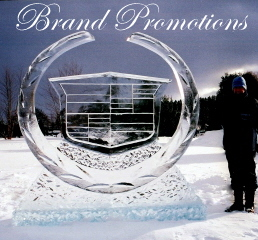 Brand Promotion Ice Sculpture, Ice Impressions, Northern Michigan Ice Sculptures.