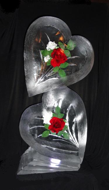 Hearts with Red & White Roses Ice Sculptures