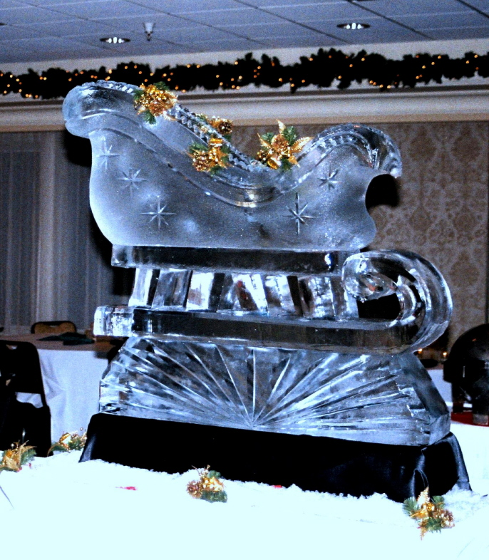 By Ice Impressions, ice-impressions.com, ice sculptures, ice sculpture, ice carving, ice carvings, custom ice sculptures, special event ice sculptures, Santa's Sleigh, Santa's Sleigh Ice Sculpture, Ice Impressions.