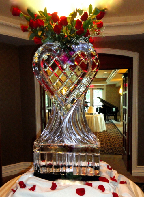ice sculpture, ice sculptures, ice carving, ice carvings, rose vase, rose vase ice sculptures, michigan ice sculptures, wedding decor ice sculptures