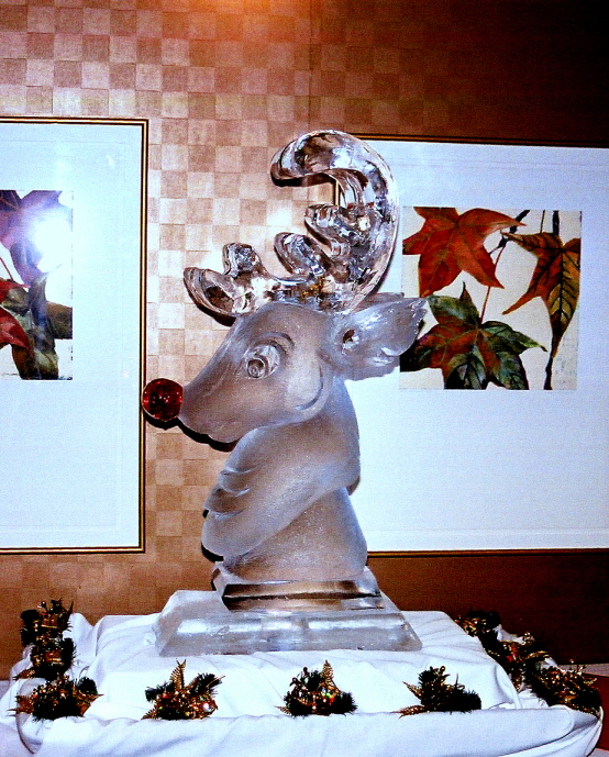 Rudolph The Red Nosed Reindeer Ice Sculpture, Ice Impressions.