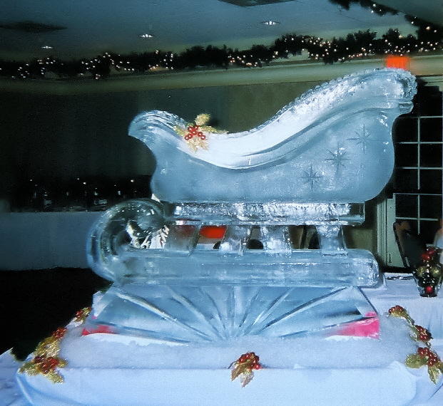 By Ice Impressions, ice-impressions.com, ice sculptures, ice sculpture, ice carving, ice carvings, custom ice sculptures, special event ice sculptures, Santa's Sleigh, Santa's Sleigh Ice Sculpture, Santa's Sleigh Ice Carving, Ice Impressions.